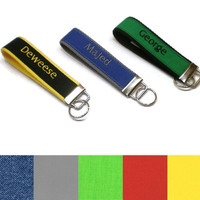 Personalized solid color fabric key fob, monogrammed key chain, keys wristlet. Key fobs for men. Personalized men gifts. Stocking stuffer.