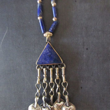 Afghan Lapis Lazuli Ethnic Pendant, Gemstone Vintage Boho Chic Jewelry, Long Necklace
