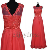 Custom Red Applique Beads New Long Prom Dresses Formal Evening Gowns Wedding Party Dresses Formal Party Dresses Bridesmaid Dresses 2014