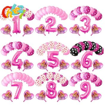 PAW Patrol 13pcs Skye Ryder Cartoon figure Pink Blue Number 1 2 3 Birthday Party decor helium foil balloons Baby shower kid' toy
