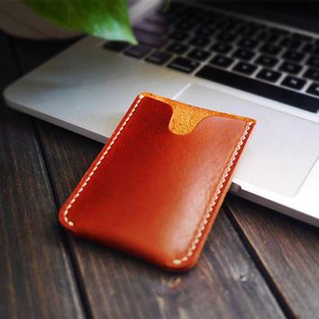 Slim Leather Card  Wellet  / Handcraft Card Case / Ultra Slim Slot / Minimalist Vertical Slot / Men's Leather Case/perfect gift