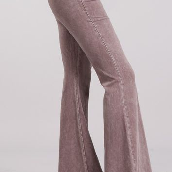 Chatoyant Mineral Wash Flare Pants in Desert Taupe