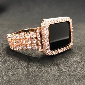 Apple Watch Band Women Rose Gold 38mm/40mm 42mm/44mm Princess Rhinestone Crystal Series 1 2 3 4/Bezel Case Cover 2mm Lab Diamonds Bling