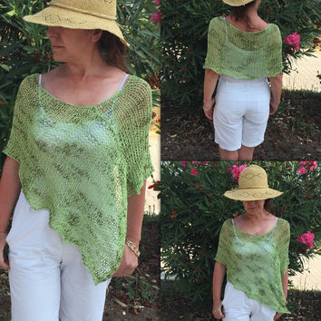 Spring summer poncho, knit spring poncho, loose knit wrap, green poncho sweater, spring top, cotton spring poncho, boho women top