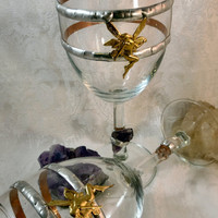 Fairy and Amethyst or Quartz Crystal Chalice / Medieval Fantasy Pagan Wedding Wine Toasting Goblet / Wicca Pagan Magic Ritual Chalice Cup