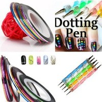 Amazon.com: 350buy 5 X 2 Way Marbleizing Dotting Pen Set for Nail Art Manicure Pedicure+10 Color Rolls Nail Art Decoration Striping Tape: Beauty