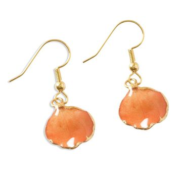 Lacquer Dipped 24k Gold Trim Orange Rose Petal Dangle Earrings
