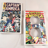 Captain America Vintage Comic Light Switch and Outlet Covers - set of 2 - Avengers, comics, superhero, Steve Rogers