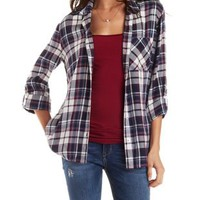 Button-Up Plaid Top by Charlotte Russe