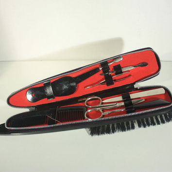 Mens Manicure Kit, Lint Brush, Travel Manicure Set, Travel Accessory, Leather Accessory, Manicure Set, Germany
