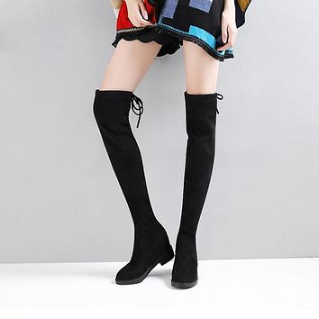 2019 Sexy Slim Fit Elastic Flock Leather Over The Knee Boots Women shoes Autumn Winter ladies high heel Long Thigh High botas