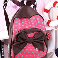 European Style Polka-dot Bowk Canvas Backpack