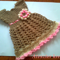 Baby Dress in light brown color , Baby Clothes, Child frock, Infant Clothes, Crochet Baby Dress, Infant Dress