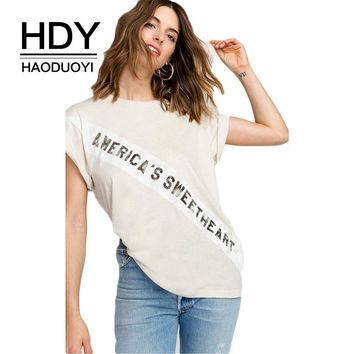 Solid Light Beige Tops Original Letter Print O-neck Short Sleeve Lady Tees Street Wear Casual T-shirts