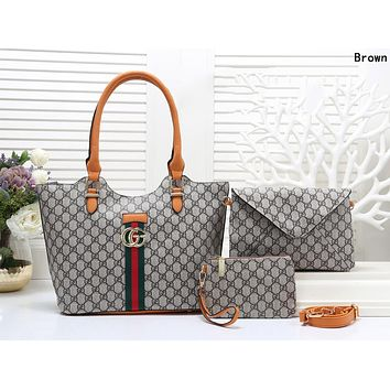 GUCCI Trending Women Shopping Bag Leather Handbag Tote Shoulder Bag Crossbody Purse Wallet Set Three Piece Brown