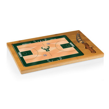 Milwaukee Bucks - 'Icon' Glass Top Serving Tray & Knife Set by Picnic Time (Basketball Design)