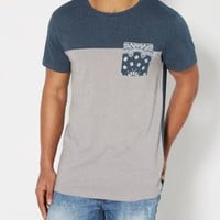 Navy Blocked Bandana Pocket Tee | Crew Neck | rue21