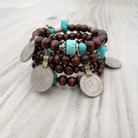 Gypsy Mala Coil Bracelet - Memory Wire Bracelet, Turquoise Accents, Tribal Coin Charms