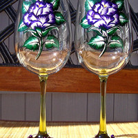 Hand Painted Wine Glasses With Purple Roses and A Charm