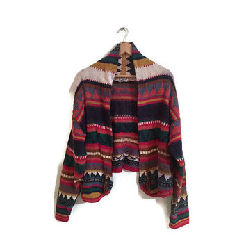 Vintage Southwest Cardigan Colorful Chunky Knit Sweater AZTEC TRIBAL striped cardigan BOHO 90s clothing womens Medium