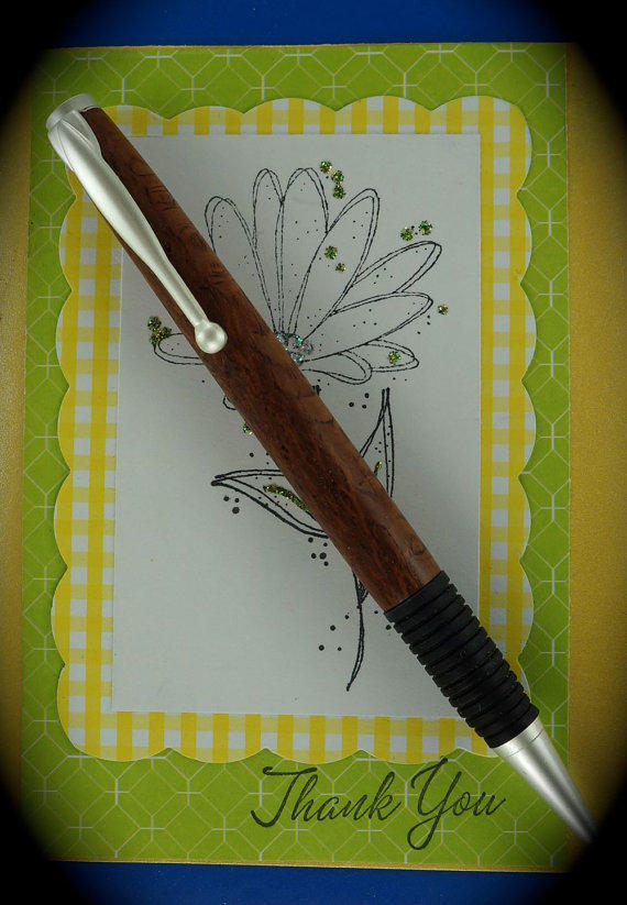 Hand turned Ink Pen Custom slimline Style Handcrafted from Lace Wood Satin Pearl Hardware 292