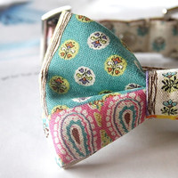 Cotton Linen Oriental Floral Patchwork Bow Tie Dog Collar