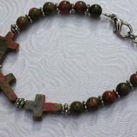 Unakite Cross Bracelet - Christian Cross - Beaded Bracelet - Mothers Day - Three Crosses - Gift For Her - Unakite Bracelet - Inspirational