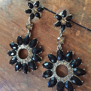 SALE - Rhinestone Dangle Earrings - black rhinestone earrings - flower earrings - high-end bijoux - black tie - prom - troppobella