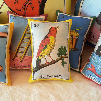 Pajaro Bird Mexican Loteria Mini Pillow with Lavender, Tuck Pillow or Bowl Filler - Christmas / Dia De Los Muertos / Day of the