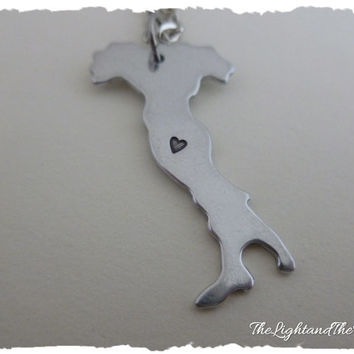 ITALY - hand stamped jewelry - Custom heart location - Gift Idea - Country - Location - Map - World