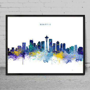 Seattle Skyline, Seattle Washington Cityscape Art Print, Watercolor Painting, Wall Art, Cityscape, City Wall art, Artwork, Art -x143