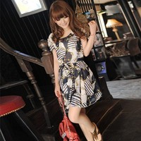 2012 New Arrival Short-sleeved Floral Print One-piece Casual Dress free shipping