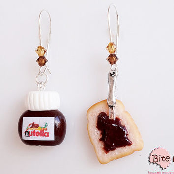 Polymer Clay Jewelry Nutella and Bread Dangle Kidney Earrings, Mini Food, Handmade Earrings, Polymer Clay Sweets, Miniature Food, Kawaii