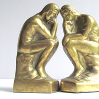 The Thinker Hollywood Regency Book Ends