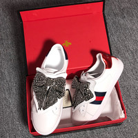GUCCI Network Mobile Crystal Bow Patch Sports Shoes and Shoes