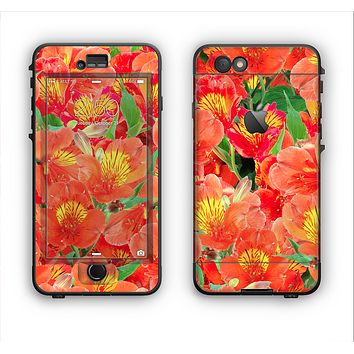The Red and Yellow Watercolor Flowers Apple iPhone 6 LifeProof Nuud Case Skin Set
