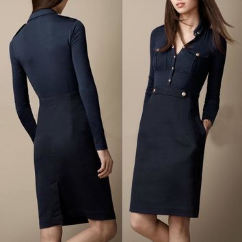 Casual Style Turn-Down Collar Solid Color Pockets Long Sleeve Women's Dress