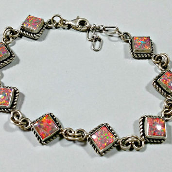 Vintage 925 Silver Mexican Fire Opal Chain Link Bracelet Brilliant Sparkling Color Faux Opal Adjustable Length 6.5 - 7.5 Inches Square Links