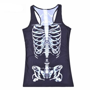Skeleton Printed Tank Top For Women