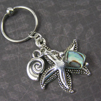 Starfish, Seashell & Abalone Captive Bead Ring Cartilage Hoop 14g 16g Dangle Belly Button Ring Jewelry Navel Helix Conch Body Piercing