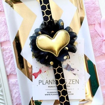 Black and Gold Honeycomb Print Planner Band with Puffy Gold Heart on Black & Gold Flower