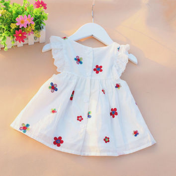 Causal Summer Baby Girl Dress Flower Fruit Dresses For Girls Cotton Print Sleeveless High Quality Holiday Princess Clothing