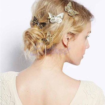 Women Shiny Golden Butterfly Hair Clip