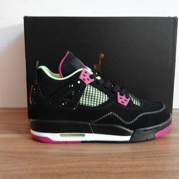 Nike Air Jordan 4 Retro IV GS Fuchsia Black Force Flash Lime GG 705344-027  Basketball Shoes
