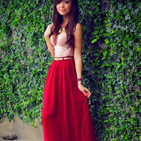 Long Chiffon Maxi Skirt