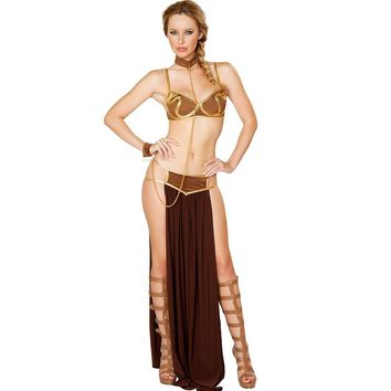 Women Party Halloween Costumes Star Wars Cosplay Sexy Princess Leia Slave Costume