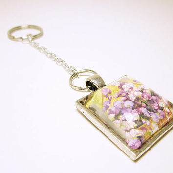 Key Chain With Purple And White Flowers Silver Pendant Key Ring Silver Tone Chain Housewarming Gift Idea