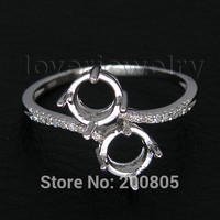 two stone round 6mm diamond engaging semi mount rings in 1kt white gold ring setting for sale