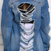 Denim Slashed & Distressed Boyfriend Jacket