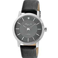 Kenneth Cole New York Rock Out Black Leather Strap Watch - Black